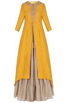 Mustard Front Open Jacket with Skirt