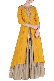 Mustard Front Open Jacket with Skirt by Himani And Anjali Shah