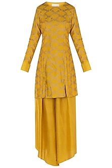 Mustard Embroidered Kurta with High Low Pants