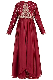 Red Embroidered Anarkali with Pants