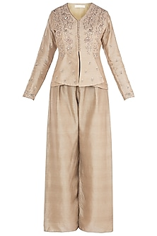 Beige Embroidered Jacket with Flared Pants