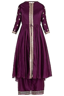 Wine embroidered tunic with pants