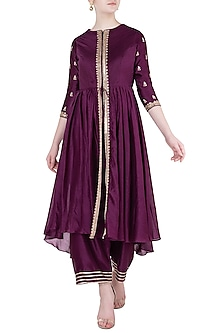 Wine embroidered tunic with pants by Himani And Anjali Shah