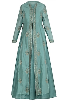 Sea Green Block Printed Jacket with Anarkali