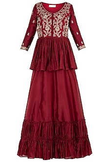 Red Embroidered Kurta with Skirt and Dupatta
