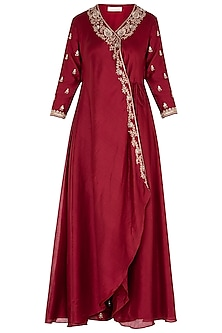 Red Front Open Jacket with Pants and Dupatta