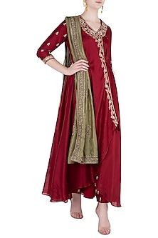 Red Front Open Jacket with Pants and Dupatta by Himani And Anjali Shah