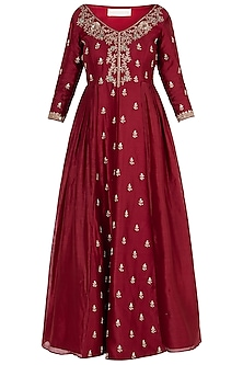 Red Embroidered Anarkali with Dupatta