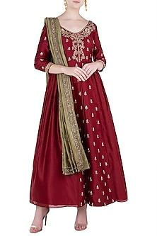 Red Embroidered Anarkali with Dupatta by Himani And Anjali Shah