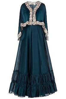 Navy Blue Embroidered Cape with Tiered Skirt