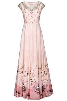 Salmon pink printed anarkali gown with belt by Himani And Anjali Shah