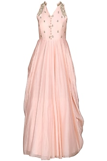 Salmon Pink Embroidered Anarkali Gown