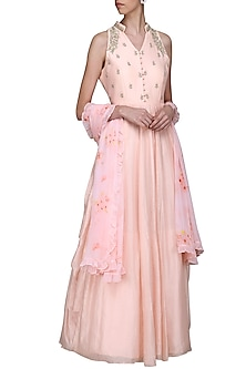 Salmon Pink Embroidered Anarkali Gown by Himani And Anjali Shah