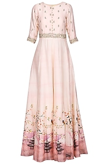 Salmon Pink Zardozi Embroidered Anarkali Gown