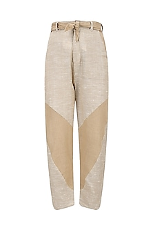 Beige and Brown Patchwork Knee Cutouts Pants by House of Sohn