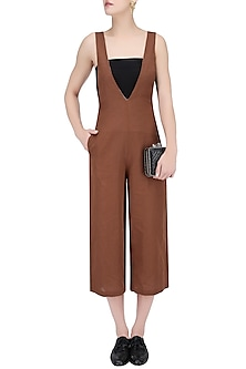 Rust Brown V Neck Sleeveless Jumpsuit by House of Sohn