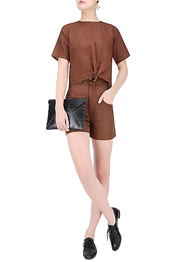 Rust Brown High Waisted Linen Shorts by House of Sohn