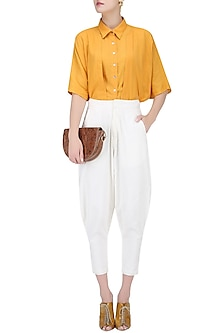 White Narrow Bottom Baggy Pants by House of Sohn