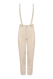 Brown and White Specked Pants with Suspenders