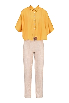 Tangerine Orange Button Down Shirt with Flaps
