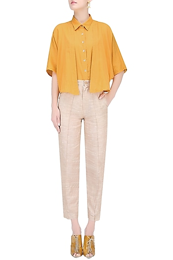Tangerine Orange Button Down Shirt with Flaps by House of Sohn