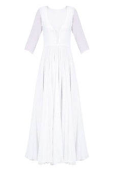 White Pleated and Flared Maxi Dress