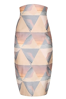 Grey mixed media print dawn triangle pencil fitted skirt