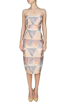 Grey mixed media print dawn triangle pencil fitted skirt by House of Sohn