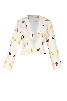 Cream front open droplet blazer