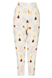 Cream multcoloured droplet pants