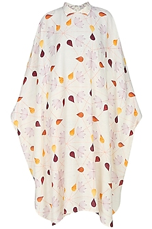 Cream droplets and autumn leaves printed kaftan by House of Sohn