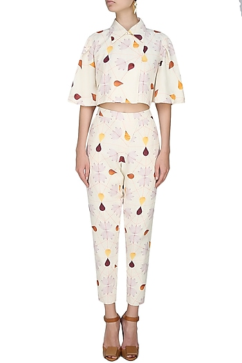 Cream droplets and autumn leaves printed crop blazer by House of Sohn