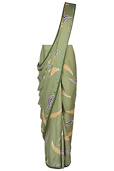 Green Hand Painted Saree Set by House of Tamarind