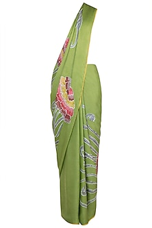 Green Hand Painted Lace Saree Set by House of Tamarind