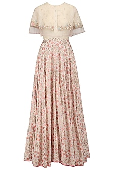 Ivory Ikat Print Organza Layered Cape Gown