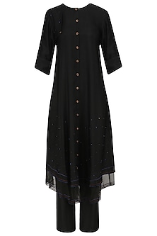Black Kurta and Pants with Mustard Ikat Print Dupatta