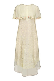 Ivory Floral Layered Cape Style Dress
