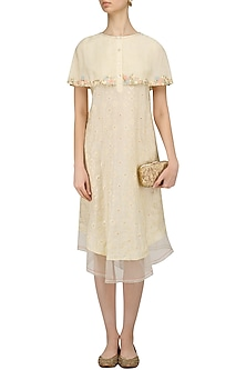 Ivory Floral Layered Cape Style Dress by I AM DESIGN