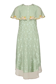 Mint Floral Layered Cape Style Dress