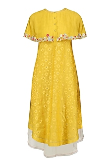 Mustard Yellow Floral Layered Cape Style Dress