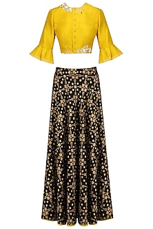 Black Ikat Print Skirt and Mustard Embroidered Crop Top Set