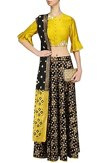 Black Ikat Print Skirt and Mustard Embroidered Crop Top Set by I AM DESIGN