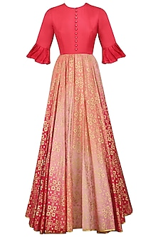 Peach Pink Ikat Print Ombre Shaded Gown