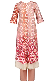 Peach Pink Shaded Ikat Print Kurta and Pants Set