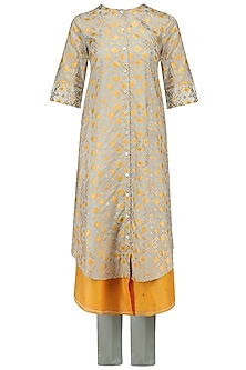 Mint Ikat Printed Layered Kurta and Pants Set