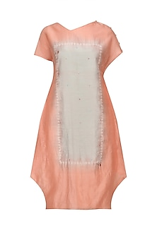 Peach Tye and Dye Kantha Embroidered Dress