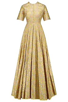 Golden Beige Ikat Print And Embroidered Back Gown