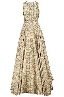 Ivory Ikat Print And Embroidered Back Gown
