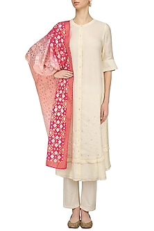 Ivory Layered Kurta And Pants With Ikat Printed Dupatta by I AM DESIGN