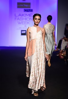 Peach and ivory patola printed layered asymmetric dress by I AM DESIGN